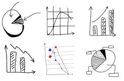 Doodle charts by hand. On white background Royalty Free Stock Photos
