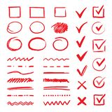 Doodle check marks and underlines. Hand drawn red strokes and pen V marks for list items. Vector marker check signs and
