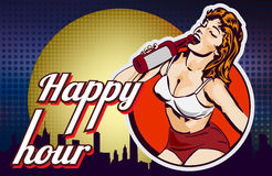 Doodle with a cheerful woman drinks wine from a bottle. Comics style. City on background. Text Friday. Beer glass. Vector image Stock Photo