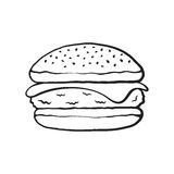 Doodle of cheeseburger Stock Image