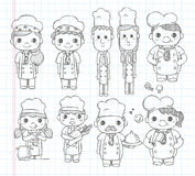 Doodle chef icons Stock Photography