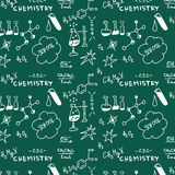 Doodle Chemistry pattern blackboard Stock Photos
