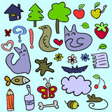 Doodle childish elements Stock Photo