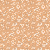 Doodle Childish Seamless Pattern. A doodle pattern with various childish objects like comets, stars, bugs, leaves, signs,skulls etc Royalty Free Stock Photography