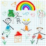 Doodle children Stock Image