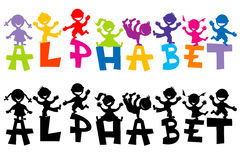 Doodle children with alphabet letters Stock Photography