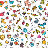 Doodle children background. Seamless pattern for cute little gir Stock Images