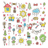 Doodle children drawing. Hand drawn set of drawings in child sty. Le. Vector illustration Royalty Free Stock Photography