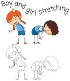 Doodle children stretching on white background stock illustration