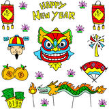 Doodle of Chinese celebration dragon lion costume Stock Photography