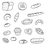 Doodle chlebowi chlebowi donuts Fotografia Royalty Free