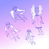 Doodle christmas angels on a lilac background Royalty Free Stock Photography