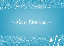 Doodle Christmas background. Christmas background with borders made of doodles items related to the holiday Royalty Free Stock Photography