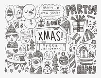 Doodle Christmas background Stock Photo