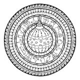 Doodle christmas ball on ethnic mandala. Royalty Free Stock Photography