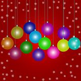 Doodle Christmas baubles on red background a royalty free illustration