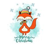 Doodle Christmas card with dressed fox vector illustration