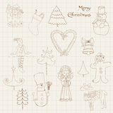 Doodle Christmas Design Elements - for scrapbook Stock Photo