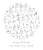 Doodle Christmas elements. The large collection of cute christmas elements Stock Photography