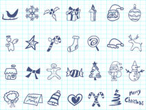Doodle Christmas icon set. On lined paper stock illustration