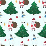 Doodle Christmas pattern with Snowmen and Santa stock illustration