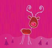Doodle Christmas Reindeer Rudolph On Snow Stock Photos