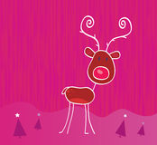 Doodle christmas reindeer Rudolph on snow. Red-nosed reindeer Rudolph. Vector cartoon illustration Stock Photos