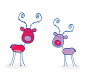Doodle christmas reindeers isolated on white Royalty Free Stock Image