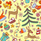 Doodle Christmas seamless Stock Photography
