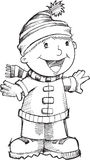 Doodle Christmas Singing Boy Vector Royalty Free Stock Photography