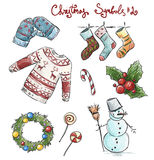 Doodle christmas symbols. Vector illustaration. Stock Photo