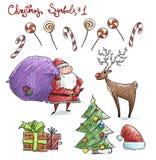 Doodle christmas symbols. Vector illustaration. Royalty Free Stock Photo