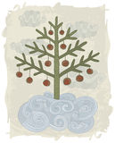 Doodle Christmas tree. Illustration of hand drawn decorated Chistmas tree Royalty Free Stock Images
