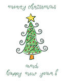 Doodle Christmas tree Stock Photos