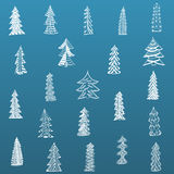 Doodle Christmas Tree Set on blue Background. Vector Illustration Royalty Free Stock Image