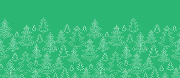 Doodle Christmas trees horizontal seamless pattern Stock Photo