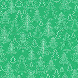 Doodle Christmas trees seamless pattern background Royalty Free Stock Images
