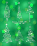 Doodle Christmas trees Royalty Free Stock Photography