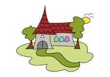 Doodle church drawing. Colorful doodle drawing of a church in summer landscape Royalty Free Stock Photos