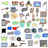 doodle cinema icons isolated on white Stock Image