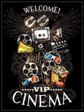 Doodle Cinema Poster. With camera reels snack clapperboard megaphone and 3d glasses on black background vector illustration Stock Photo