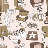 Doodle cinema seamless pattern Royalty Free Stock Images