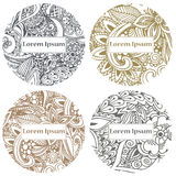 Doodle circle design. Abstract lace ornament. Vector illustration with arabic motifs for card, invitation, scrap booking. Royalty Free Stock Photography