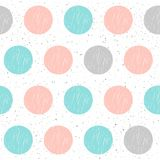 Doodle circle seamless background. Abstract childish cover. Doodle circle seamless background. Abstract childish blue, grey and pink round pattern for card Royalty Free Stock Photo