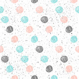 Doodle circle seamless background. Black, blue and pink circle. Abstract rounds seamless pattern for card, invitation, poster, banner, placard, diary, album Stock Photos