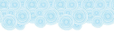 Doodle circle water texture horizontal border Stock Images