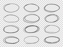 Doodle circles. Hand drawn ellipse, circular highlights old pencil sketch vector isolated stock illustration