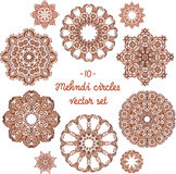 Doodle circles set in indian mehndi style Royalty Free Stock Photography
