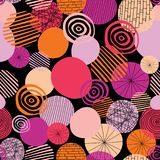 Doodle circles vector seamless pattern. Abstract geometric dots background. Geometric shapes pink, orange, coral, and peach on a stock illustration