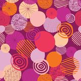 Doodle circles vector seamless pattern. Abstract geometric dots background. Geometric shapes pink, orange, coral, and peach on a royalty free illustration